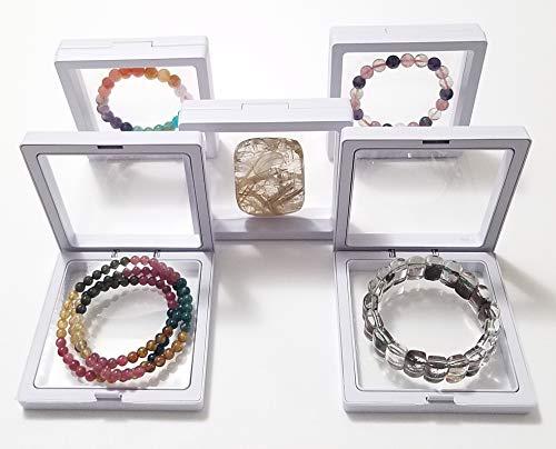 JM 5X Transparent 3D Floating Frame Display Holder/Box/Frames for Challenge Coins, AA Medallions, Antique, Jewelry, Gift, White, 3.5 x 3.5 x 0.75 - Presentation Medal