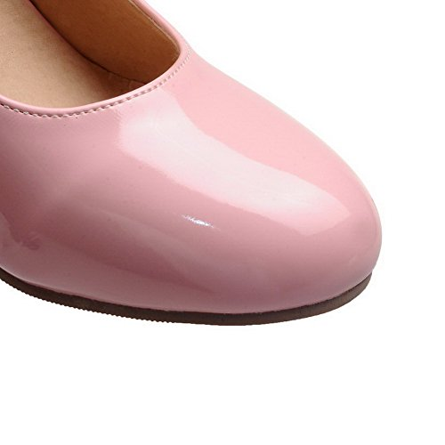 AllhqFashion Womens Patent Leather Hook-and-Loop Kitten-Heels Solid Pumps-Shoes Pink 555pyr2Ppt