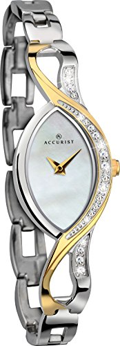 Accurist Ladies Mother Of Pearl Analogue Display Watch With Two Tone Stone Set Bracelet 8057