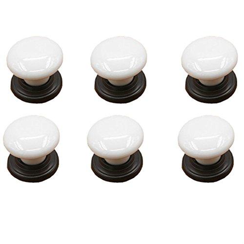IdealDecor 6PCS White Porcelain Ceramic Drawer Knobs Door Knob Handle Pull For Cupboard/Cabinet/Wardrobe/Drawer/Bathroom (Drawer Porcelain)
