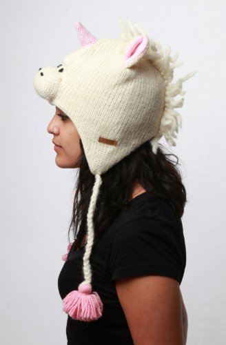 DeLux White Unicorn Wool Pilot Hat with Ear Flaps One Size - coolthings.us
