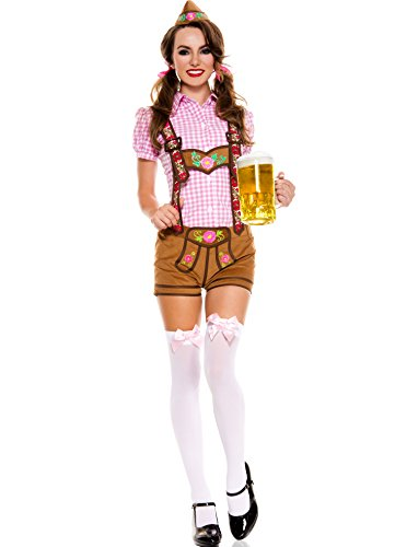 MUSIC LEGS Women's Lederhosen Beer Babe, Pink/Brown, ()