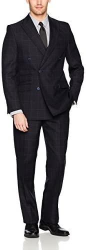 Stacy Adams Mens Sam Double Breasted Suit Mini Check Suit Pants Set