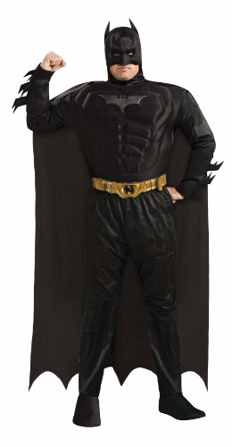 Batman The Dark Knight Rises Muscle Chest Batman Set, Black, Plus (Batman Black Knight Rises)