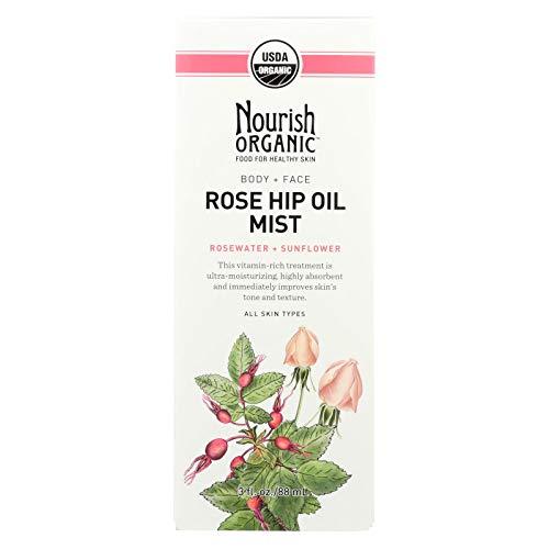 2 Pack of Nourish Organic Body Oil Mist - Rejuvenating Rose Hip and Rosewater - 3 oz