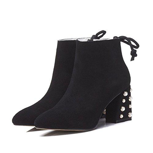 bottes de Femmes Mode Strass New Style Bottines Sauvages Occasionnels Pointus épais avec Daim Black Sk1hE7c5Z