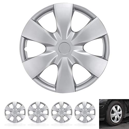"""BDK KT-1008-15 Guards - Hubcaps for Car Accessories Covers Snap Clip-On Auto Tire Rim Replacement for 15 inch Wheels 15"""" Hub Cap (4 Pack)"""