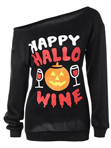 Dooxi Mujer Halloween Impresión de Manga Larga Sudaderas Tops Fuera del Hombro Camisetas Negro5