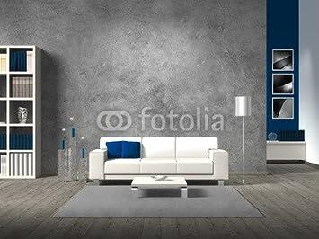 Holz 3mm Bild 50 X 40 Cm Modernes Wohnzimmer Mit Betonwand Bild