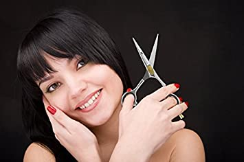 """Equinox Professional Razor Edge Hair Cutting Scissors/Shears - (5.5"""") Finger Inserts and Adjustment Tension Screw, Hand-Sharpened Cutting Edges, 100% Stainless Steel"""