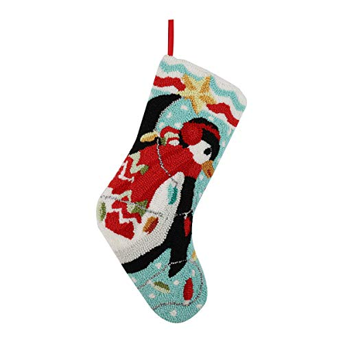 "Alice Doria 21"" Handmade Hooked Penguin Christmas Stocking with Beautifully Detailed Pattern"