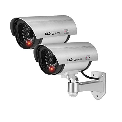 Buy Fake Security Camera, Dummy CCTV Surveillance System with Realistic Red Flashing Lights and Warn...
