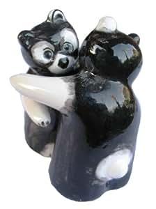 Black and White Salt & Pepper Shaker Set (Black & White) - Hand Painted From Spain