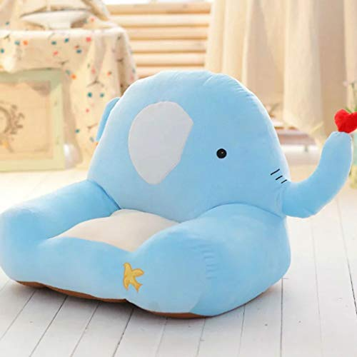 ZDD Children's Small Sofa Plush Baby Stool Cute Cartoon Cushion (Color : Blue Elephant, Size : 55X50cm) (Elephant Plush 11)