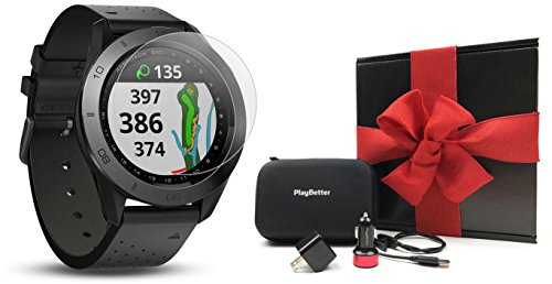 Garmin Approach S60 (Premium) Gift Box Bundle | Includes Glass Screen Protector, PlayBetter USB Car/Wall Charging Adapters & Protective Hard Case | Golf GPS Watch (Ceramic Bezel/Black Leather Band) by PlayBetter