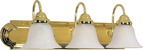 Nuvo Lighting 60/329 Three Light Vanity, 3, Polished Brass/Alabaster Glass