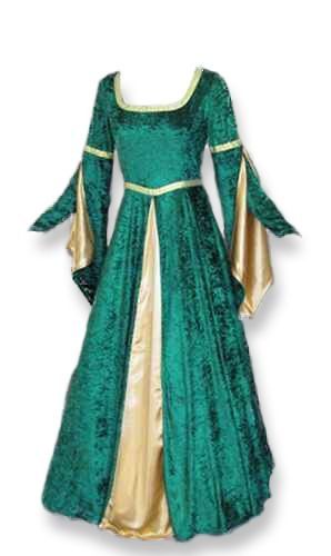 Renaissance Medieval Gown with Satin Panel Insert and Ribbon Accents by Artemisia Designs