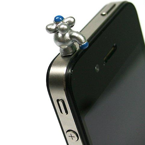 Gioielli per il tuo telefonino nella forma di rubinetto in color argento.