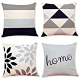 Decemter 4PCS Geometric Tree Leaf Throw Cushion Cover Cotton Linen Pillowcase Home Decoration 18x18 Beige