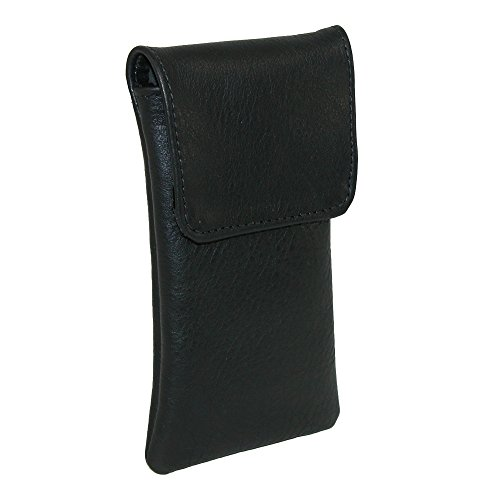 CTM Leather Soft Eyeglass Case with Holster Clip, - Leather Mens Eyeglass Case