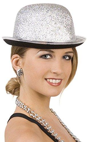 Melone Hut in silber für diverse Karnevalskostüme für Damen