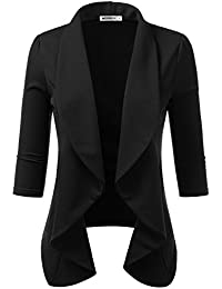 f475b04714f Womens Lightweight Thin 3 4 Sleeve Open Front Blazer with Plus Size