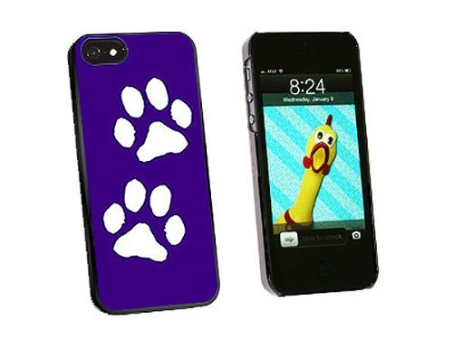Graphics and More Paw Prints Purple Snap-On Hard Protective Case for iPhone 5/5s - Non-Retail Packaging - Black