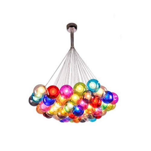 TheMonday Colorful Glass Ball Pendant Light Fixture, DIY Clear G4 Soap Bubble Hanging Lamp Restaurant Living Dining Room Indoor Ceiling Decoration Multi-Color Transparent Chandelier