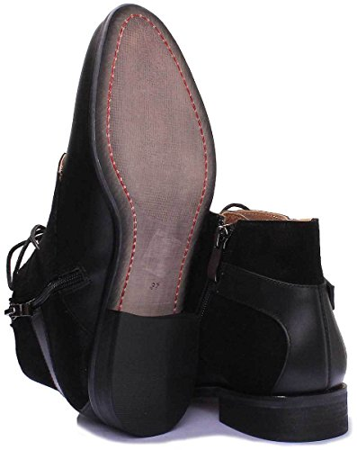 Justin Reece Mila Women Black Suede Leather Ankle Boots (6 UK, Black)