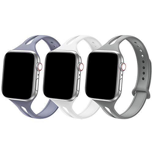 Bandiction Sport Band Compatible with Apple Watch 38mm 40mm, Soft Silicone Sport Strap Replacement Narrow Bands for iWatch Series 5 4 3 2 1 Sport Edition Women Men (Lavender Gray/White/Stone)