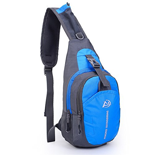 Pengwei waterproof nylon Sling Bag Chest Shoulder outdoor sports leisure Shoulder Chest Pack Unbalance Crossbody Bag (blue)