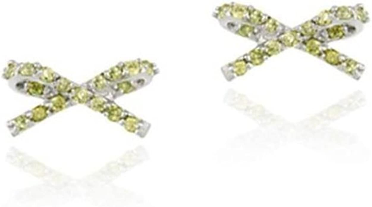 Sterling Silver Olive Green Cubic Zirconia Bow Stud Earrings