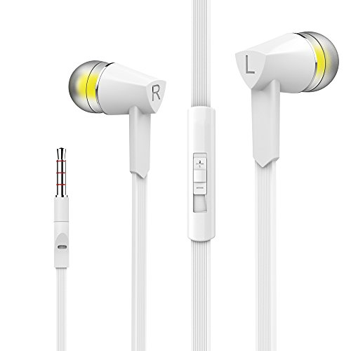 Mxstudio Stereo Sound Headphones Wired Earphones In-Ear Earphones with Volume Control Earbuds with Mic White