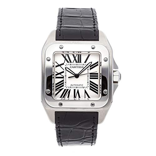 Cartier Santos Mechanical (Automatic) Silver Dial Mens Watch W20076X8 (Certified Pre-Owned) (Cartier Mechanical Watch)