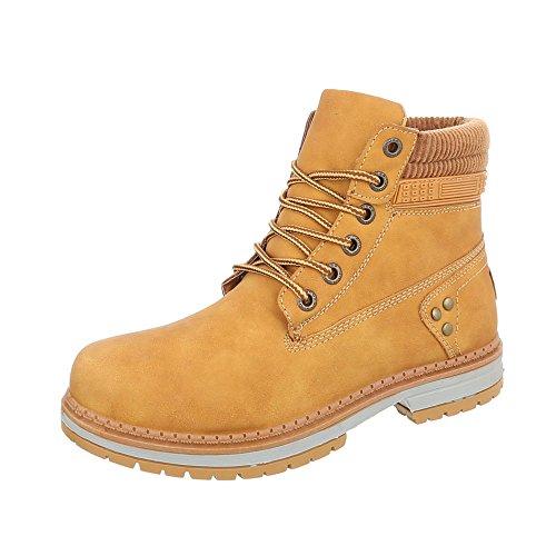 Ital-Design Zapatos Para Mujer Botas Tacón Ancho Botines con Cordones Braun BD901-KB