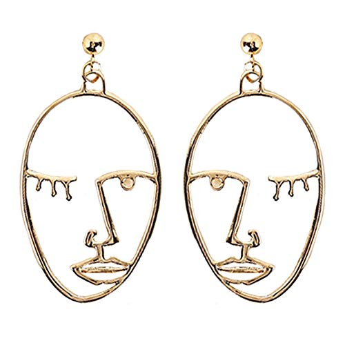 Human Face Dangle Earrings Drop Hoop Tassel Chandelier Ear Cuff Stud Earrings Women Girls Fashion Tribal Piercing Hollow Out Wedding Bridal Tribal Charms Jewelry Golden Tone