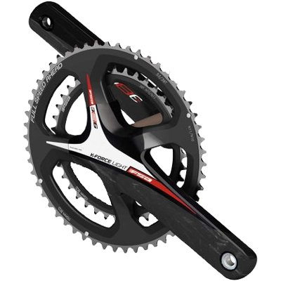 FSA K-Force Light ABS EVO386 Road Bicycle Crankset (Black/Red Logo - 39/53t-172.5 w/o BB 86 x N-11)