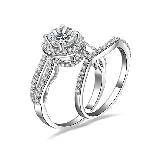 - MoAndy Promise Engagement Wedding Women Ring Set 925 Sterling Silver Ring, Round White Cz Sz 7.5