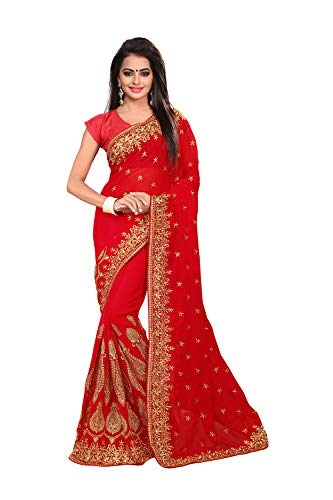 Saree for Women Indian Ethnic Sari in Red Georgette (Best Designer Saree Collection)