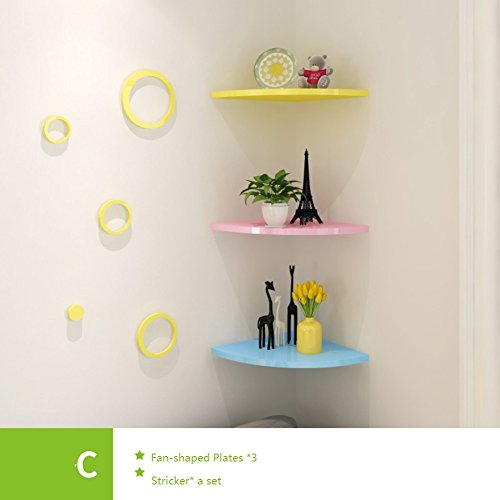 Wall mount corner shelf,Decorative wall book shelf set hanging flower rack fan-Shaped plates free of punch for living room or bedroom-F 26x26cm(10x10inch) by wallmountdiy