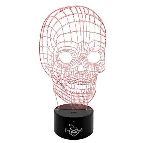 3D LED Skull Desk Table Bedroom Night Light Lamp - Touch/Remote Controlled, 16 Different Colors, 8.5