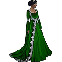 Dydsz Women's Medieval Evening Dresses Formal Gown Long Sleeves 2 Piece with Train D251 Green 26 Plus