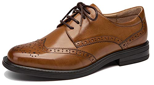 U-lite Women's Perforated Lace-up Wingtip Leather Flat Oxfords Vintage Oxford Shoes Brogues Brown-2 6.5 ()