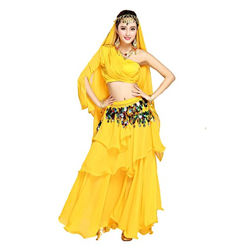 Maylong Women's One Shoulder Top Belly Dancing Layered Skirt Halloween Gypsy Costume (3 Pieces, Yellow) - Halloween Costume Ballroom Dancer