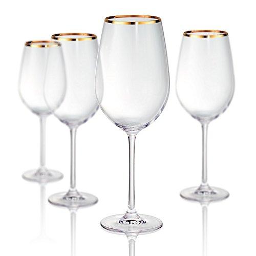 Artland 70208B Gold Band Bordeaux Wine Non-Lead Crystal Glass, Set Of 4, 25 oz, -