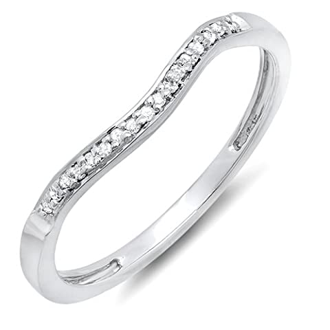 0.10 Carat (ctw) Sterling Silver Round Diamond Ladies Wedding Band Guard Ring 1/10 CT (Size 7.5) (Rings Cheap Silver)