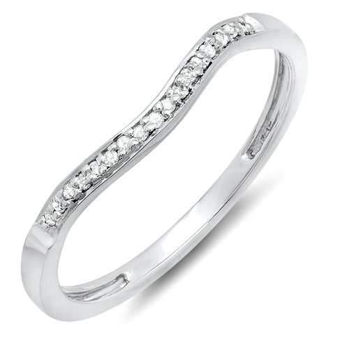 Dazzlingrock Collection 0.10 Carat (ctw) Sterling Silver Round Diamond Ladies Wedding Band Guard Ring 1/10 CT, Size 6.5 (Band Diamond Round Wedding)