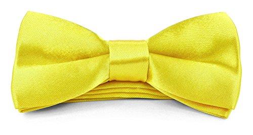 Yellow Silk Bow Tie - Boys Kids Adjustable Pre Tied 4x2 Satin Silk Bow Ties - Lemon Yellow