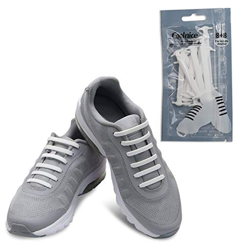 dc64f34032915 Coolnice No Tie Shoelaces for Adults-Waterproof & Stretchy Silicone Flat  Elastic Running Shoe Laces with Multicolor for Athletic Sneaker Boots Board  ...