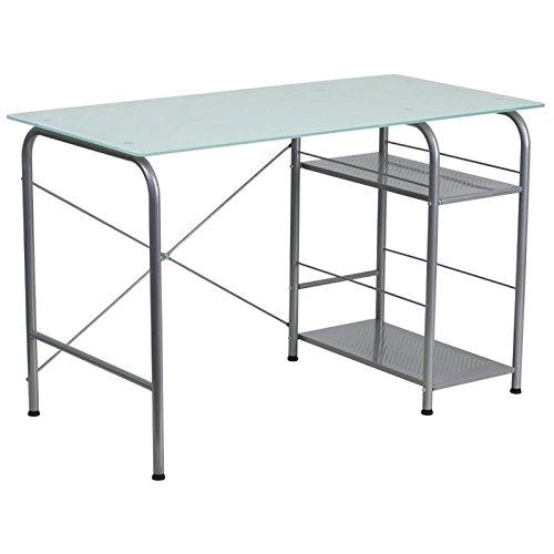 Office desk glass top Large Scranton amp Co Glass Top Home Office Desk In Silver Amazoncom Amazoncom Scranton amp Co Glass Top Home Office Desk In Silver